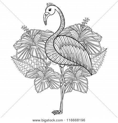 Coloring page with Flamingo in hibiskus, zentangle illustartion