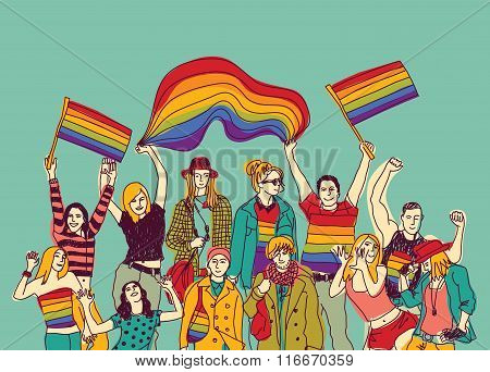 Lgbt happy gay meeting people group and sky.