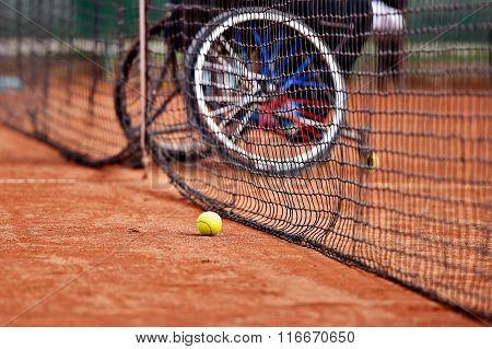 Wheelchair People On Tennis Court
