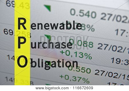 Acronym RPO as Renewable Purchase Obligation. Businesses illustration. poster