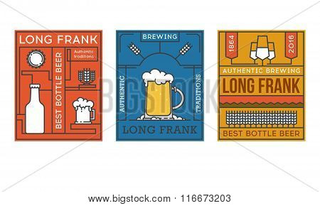 Labels for beer bottles. Line art. Stock vector.