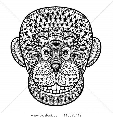 Coloring pages with head of Monkey, Gorilla, zentangle illustrat