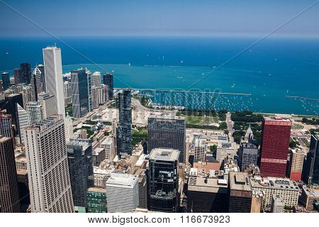 Chicago skyline panorama aerial view with skyscrapers over Michigan Lake
