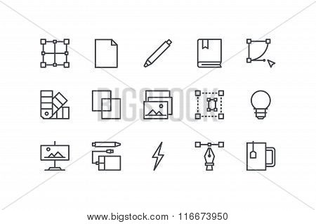 Design process colorless icons. Line art. Stock vector.