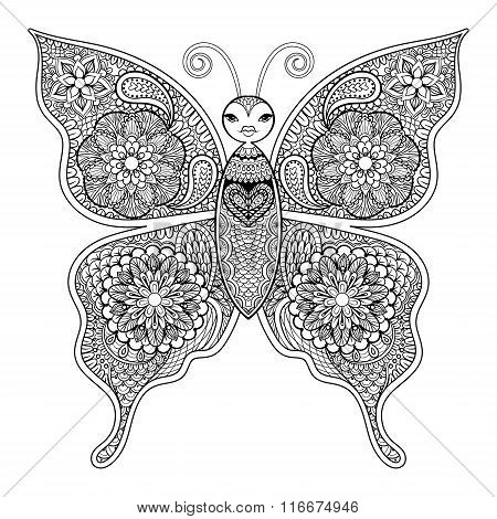 Zentangle vector Butterfly for adult anti stress coloring pages