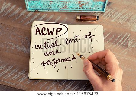 Acronym Acwp Actual Cost Of Work Performed