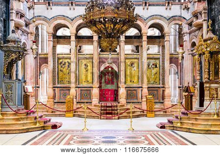 JERUSALEM, ISRAEL - FEBRUARY 23, 2012: The pulpit of the Catholicon at the Church of the Holy Sepulchre. The church is the site where Jesus was crucified and resurrected according to Christendom.