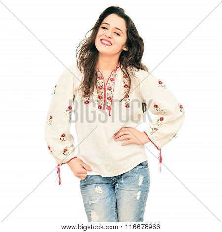 Woman In Traditional Shirt