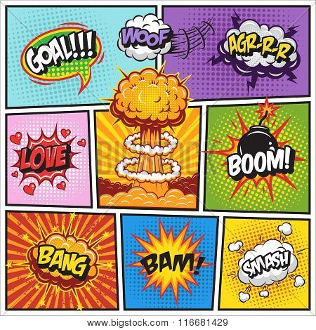 Set of comics speech and explosion bubbles 2