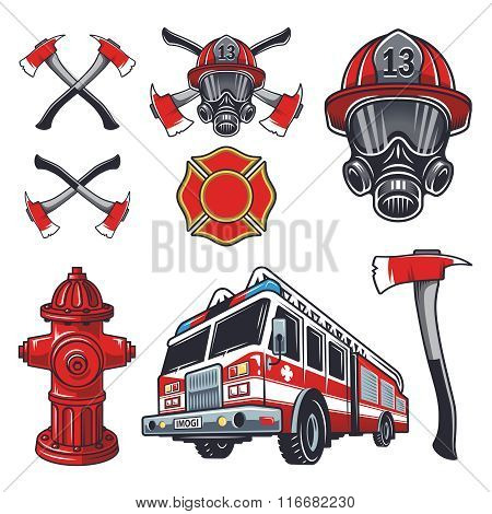 Set of designed firefighter elements