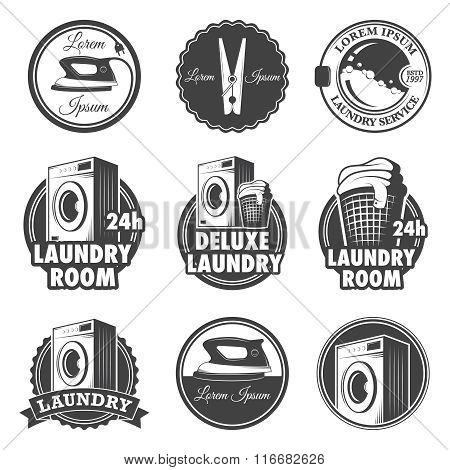 Set of vintage laundry emblems, labels and designed elements.