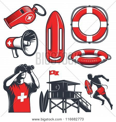 Set of vintage lifeguard elements