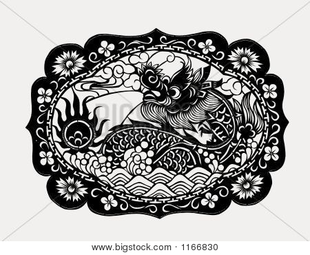 Chinese Paper Art Dragon Print
