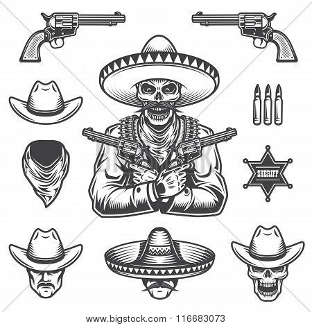 Set of sheriff and bandit elements and heads. Monochrome style poster