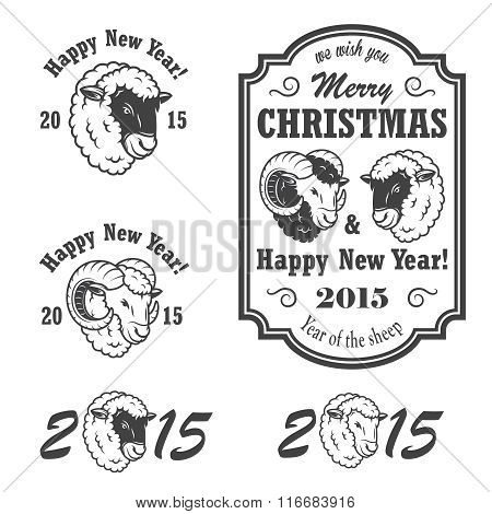 Set of new year and christmas emblems.