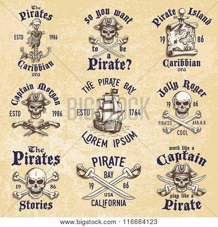 Set of vintage hand drawn pirates designed emblems, labels, logos