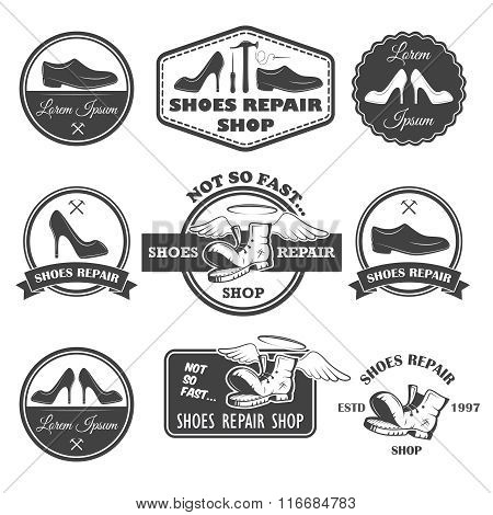 Set of vintage shoes repair labels, emblems and designed element