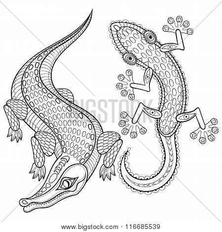 Hand drawn zentangled Crocodile and Lizard for adult coloring pa