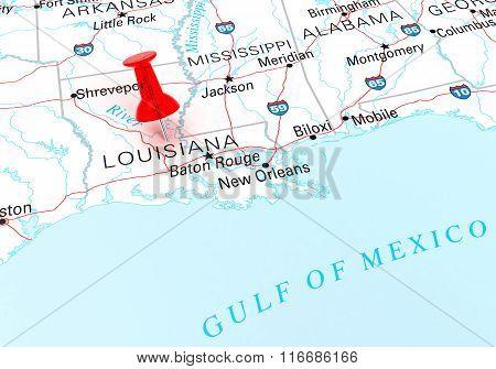Red Thumbtack Over Louisiana State Usa Map