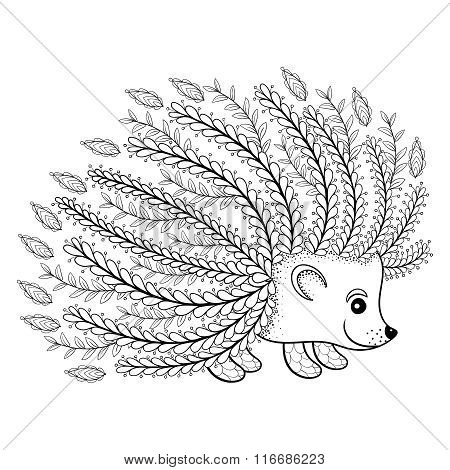 Hand drawn artistic Hedgehog for adult coloring page in doodle,