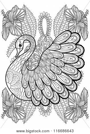Hand drawing artistic Swan in flowers for adult coloring pages A