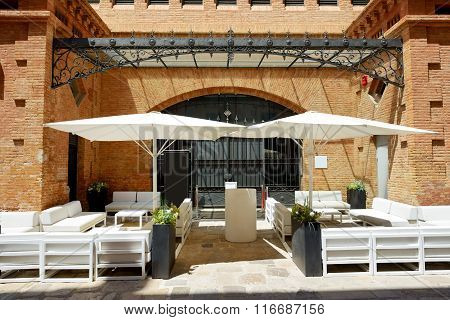The Outdoor Bar On Street Of Sitges Town, Spain