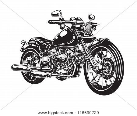 Vector illustration of hand drawn motorcycle