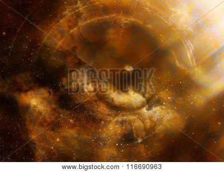 woman eye in cosmic space, abstract color Background, computer collage