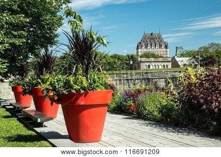 Quebec City Quebec Canada - Sept. 10, 2015: The landmark hotel dominates the skyline of Quebec City as seen from a distant park.