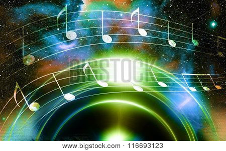 music note and silhouette music speaker and Space with stars. abstract color background. Music conce