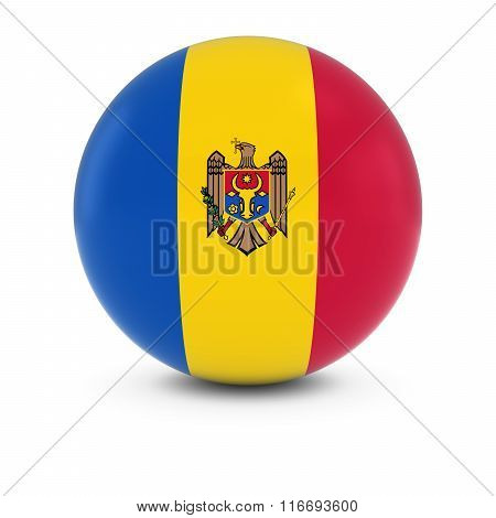 Moldovan Flag Ball - Flag Of Moldova On Isolated Sphere