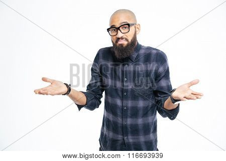 Young afro american man shrugging shoulders isolated on a white background poster