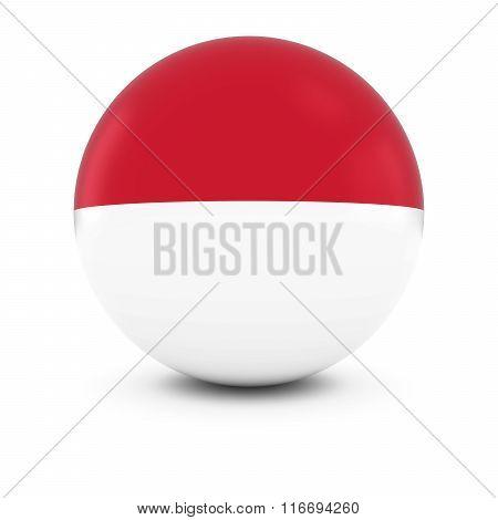 Monacan/indonesian Flag Ball - Flag Of Monaco/indonesia On Isolated Sphere