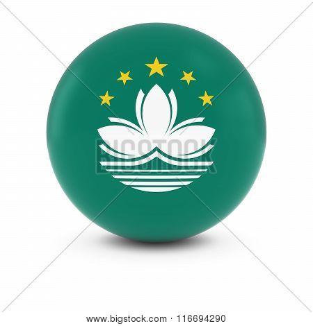 Macanese Flag Ball - Flag Of Macau On Isolated Sphere