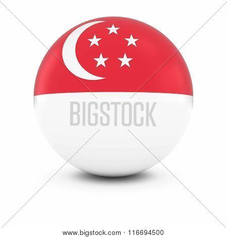 Singaporean Flag Ball - Flag Of Singapore On Isolated Sphere