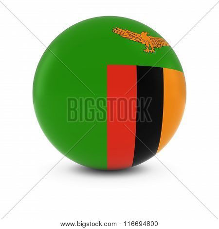 Zambian Flag Ball - Flag Of Zambia On Isolated Sphere