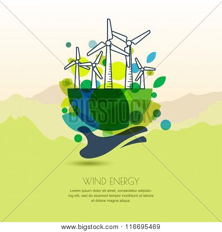 Human Hand Holding Earth With Wind Turbines. Vector Outline Illustration Of Windmill.