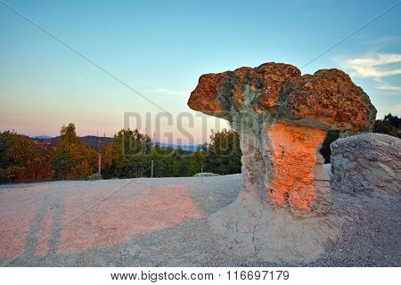 Stone Mushrooms colored in red from Sunrise near Beli plast village, Bulgaria