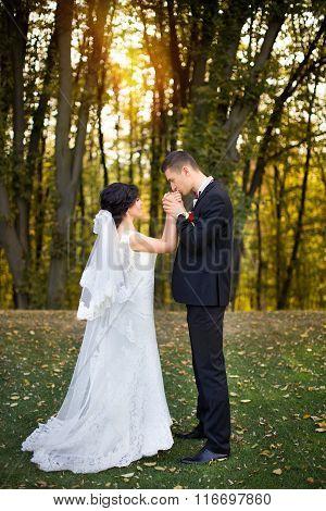 wedding copule. Beautiful bride and groom. Just merried. Close up.
