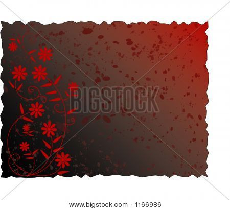 Dark Red Grunge Spattered Floral Background - Vector Illustration