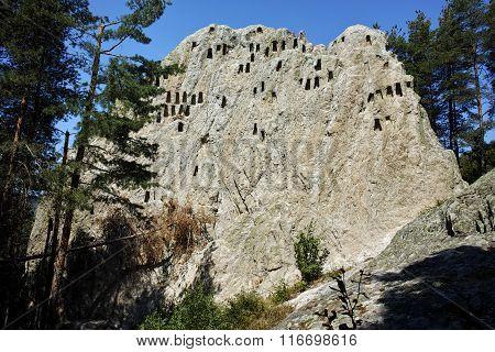 Amazing view of Thracian Sanctuary Eagle Rocks near town of Ardino, Kardzhali Region, Bulgaria poster