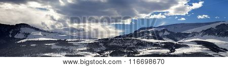 Panorama Of Winter Mountains At Evening