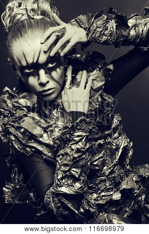 Fashion woman with black make up