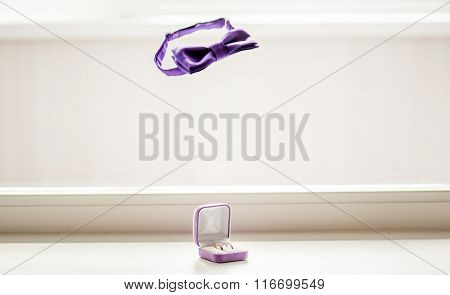 Wedding Rings And Bow Tie