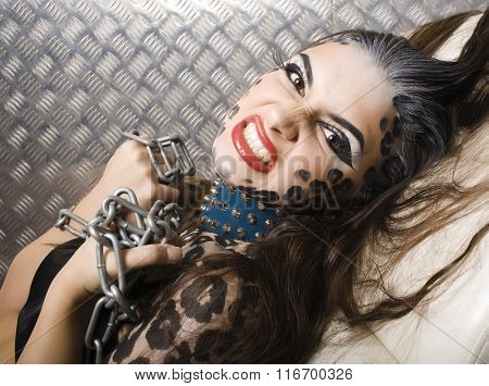 young sexy woman with leopard make up all over body, cat bodyart closeup, depression halloween