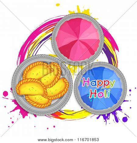 Traditional Indian Sweets (Gujia) with dry colours for Happy Holi Festival celebration.