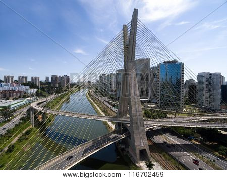Aerial View of Famous Bridge in Sao Paulo, Brazil