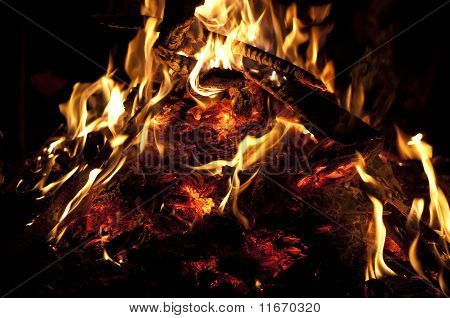 Red Coals Of A Campfire Night