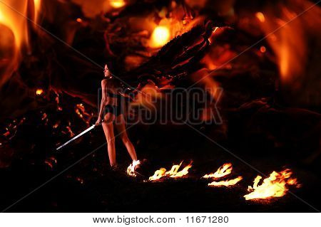 fallen angel in the hell may be use for inferno concept poster
