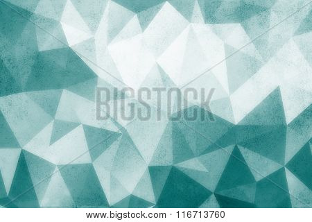 Grunge turquise polygonal pattern vintage old background.